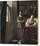 Lady Writing A Letter With Her Maid Wood Print