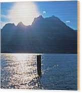 Lago Di Garda At Sunset View Wood Print