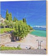 Lago Di Garda Beach In Sirmione View Wood Print
