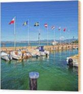 Lago Di Garda Harbor In Sirmione View Wood Print