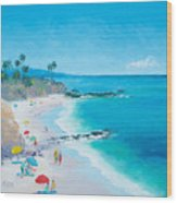 Laguna Beach Umbrellas Wood Print