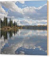 Lake And Clouds Wood Print