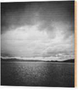 Lake And Dramatic Sky Black And White Wood Print