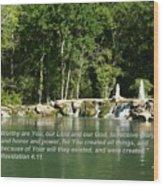 Lake At Cinco Ranch With Scripture Wood Print