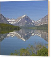 Lake At Many Glacier Wood Print
