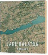 Lake Balaton 3d Render Satellite View Topographic Map Horizontal Wood Print