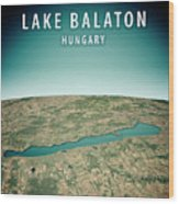 Lake Balaton 3d Render Satellite View Topographic Map Vertical Wood Print
