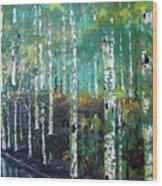 Lake Birch Wood Print