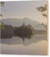 Lake Bled At Sunrise Wood Print