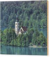 Lake Bled Island Wood Print