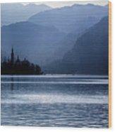 Lake Bled Twilight Wood Print