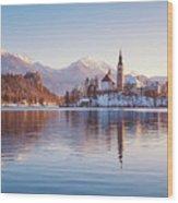 Lake Bled Winter Sunrise Wood Print