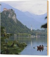 Lake Bled With Row Boat Wood Print