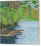 Lake Bratan Boats Bali Indonesia Wood Print
