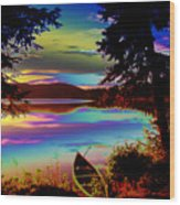 Lake Canoe Wood Print