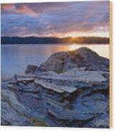 Lake Coeur D'alene Sunset Wood Print