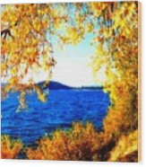 Lake Coeur D'alene Through Golden Leaves Wood Print