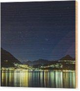 Lake Como Night Reflections Wood Print