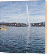 Lake Geneva Switzerland With Water Fountain And Water Taxi On A  Wood Print
