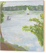 Lake Harriet With Sailboat And Angler Wood Print