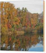 Lake Helene And Fall Foliage Wood Print