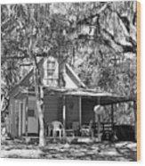Lake House Black And White Wood Print
