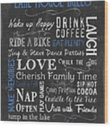 Lake House Rules Wood Print