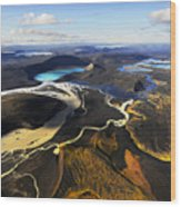 Lake In An Old Volcanic Crater Or Wood Print