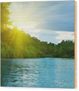 Lake In Deep Forest Wood Print