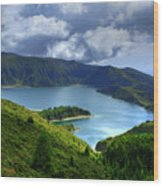 Lake In The Azores Wood Print
