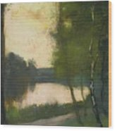 Lake In The Evening Wood Print