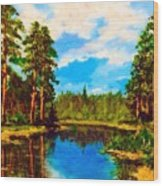 Lake In The Forest  Wood Print