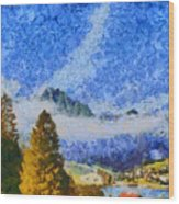 Lake In The Middle Of Swiss Beauty Wood Print
