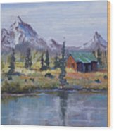 Lake Jenny Cabin Grand Tetons Wood Print