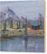 Lake Jenny Cabin Grand Tetons Wood Print