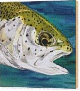 Lake Leopard Wood Print