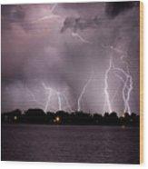 Lake Lightning 2 Wood Print