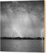 Lake Lightning Bw Wood Print