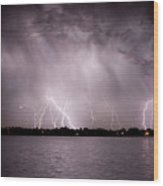 Lake Lightning Wood Print