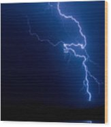 Lake Lightning Strike Wood Print