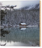 Lake Louise Boathouse Wood Print