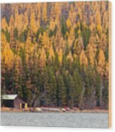 Lake Mcdonald Boatshed Wood Print