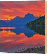 Lake Mcdonald Fiery Sunrise Wood Print