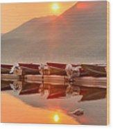 Lake Mcdonald Fiery Sunset Wood Print
