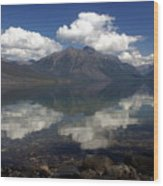 Lake Mcdonald Reflection Glacier National Park Wood Print