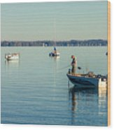 Lake Mendota Fishing Wood Print