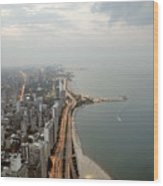 Lake Michigan And Chicago Skyline. Wood Print by Ixefra