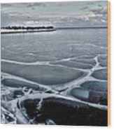 Lake Michigan Frozen Wood Print
