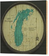 Lake Michigan Map Wood Print