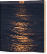 Lake Michigan Moonrise Wood Print